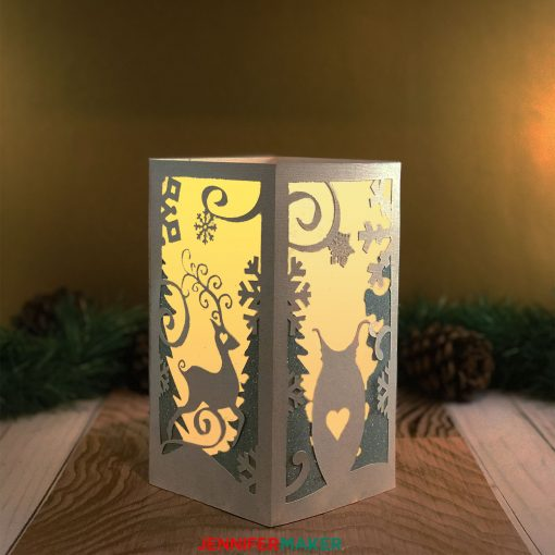 Lighting up the Winter Paper Lantern Luminary with an LED candle