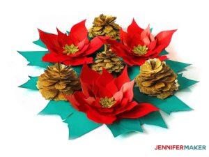 Glittery paper pinecone table decor