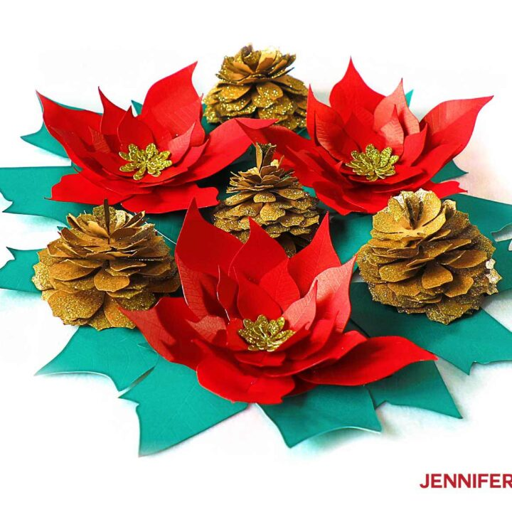 Glittery paper pinecone table decor
