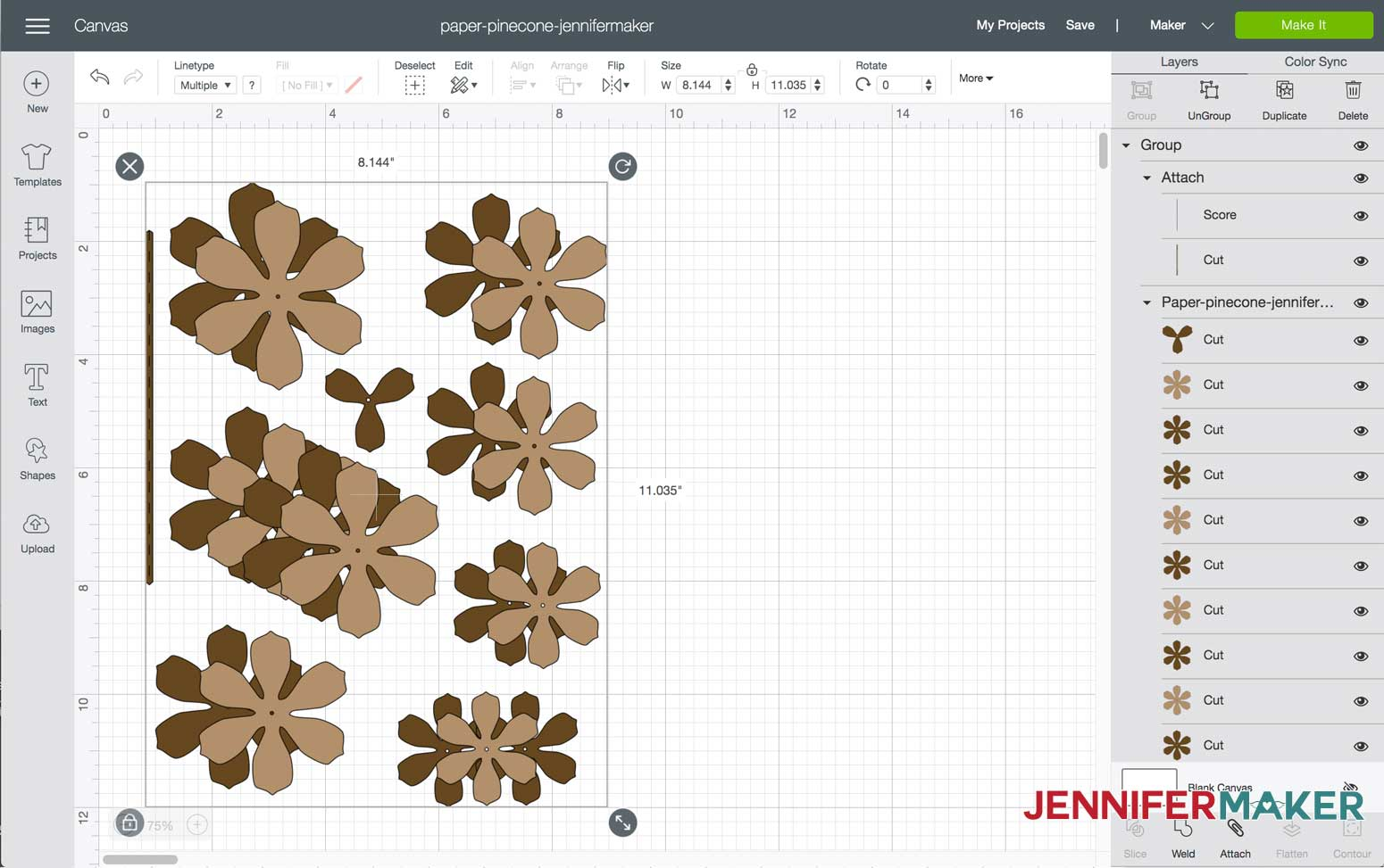 Paper pinecone SVG file uploaded in Design Space
