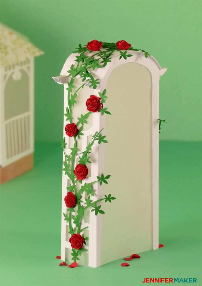 Paper Rose Arbor Luminary covered with miniature paper roses