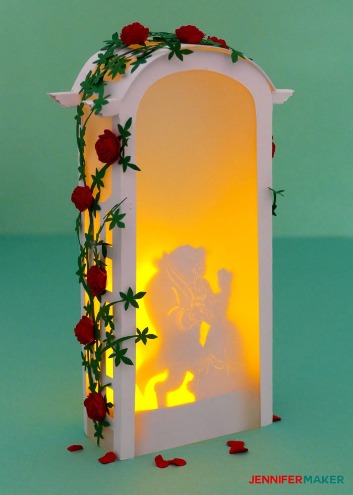 Make a Beauty & the Beast Paper Rose Arbor Luminary for wedding decor, parties, centerpieces, and memorials #cricut #papercraft #paperflowers #luminary #diy #weddingdecor #disney #princess #beautyandthebeast