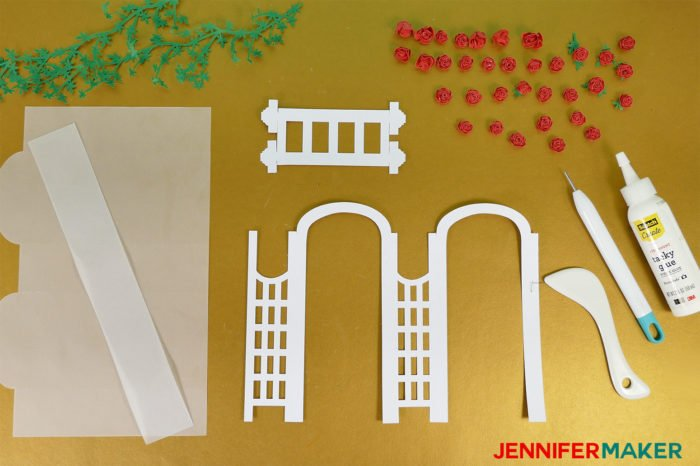 Materials and tools to make Paper Rose Arbor Luminary