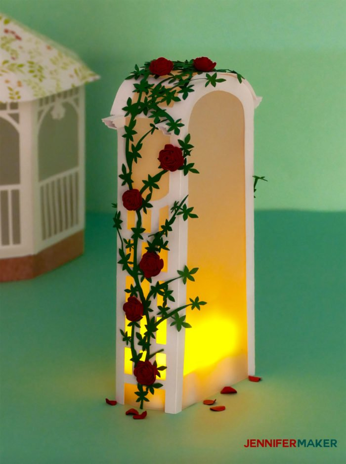 Paper Rose Arbor Luminary covered with miniature paper roses and LED tealights