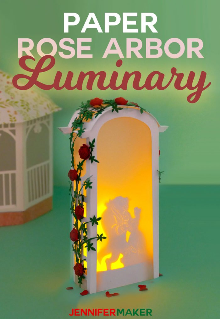Make a Paper Rose Arbor Luminary with Beauty & the Beast or other silhouette designs for wedding decor, parties, centerpieces, and memorials #cricut #papercraft #paperflowers #luminary #diy #weddingdecor #disney #beautyandthebeast