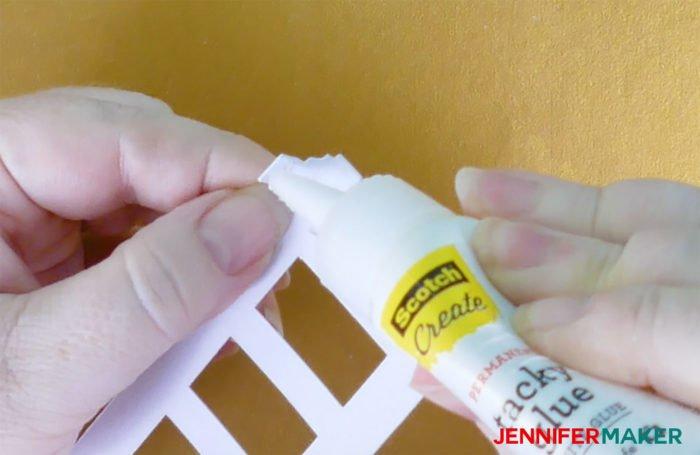 Glue the top to make Paper Rose Arbor Luminary