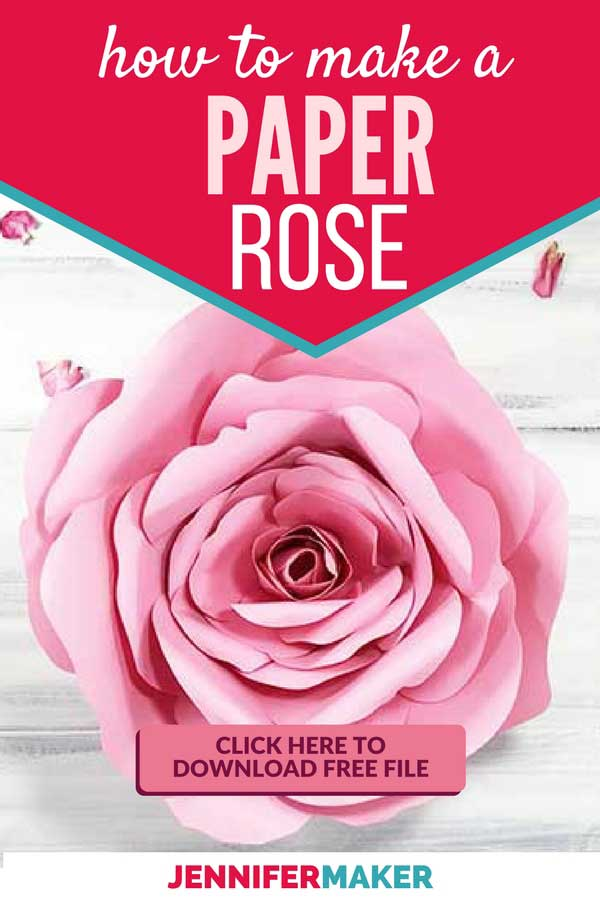 DIY Paper Rose Flower for Home Decor, Nurseries, Parties, and Weddings | Free Pattern and SVG File #paperflowers #papercraft #cricut #svg