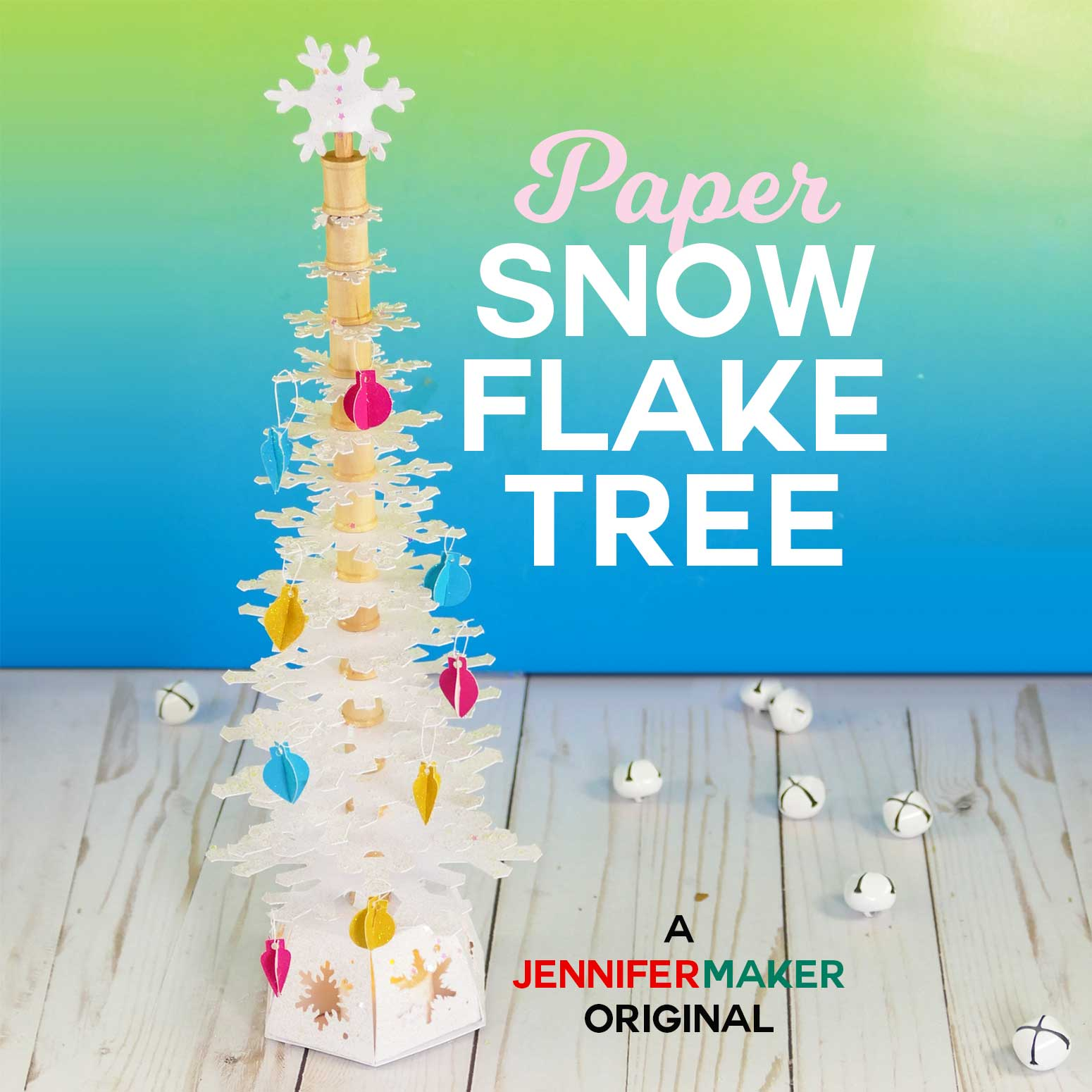 Make a Paper Snowflake Christmas Tree with this free pattern and tutorial #papercraft #svgcutfile #cricut #cricutmaker #christmas #holidaydecor