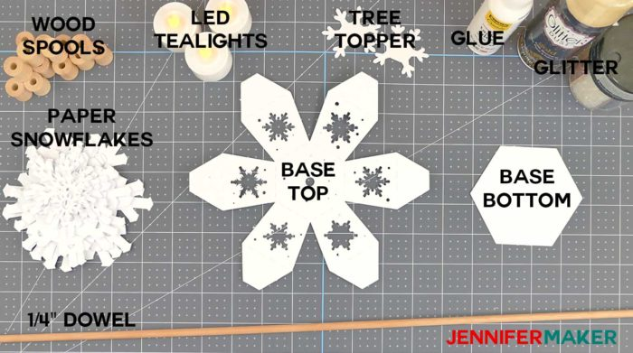 Materials needed to make a paper snowflake Christmas tree luminary