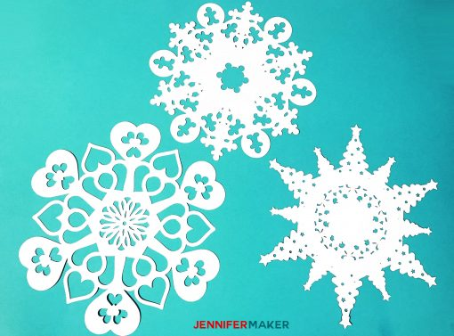 Heart, Christmas Tree, and Gingerbread Men Themed Paper Snowflakes | Free Templates and SVG Files for Cricut
