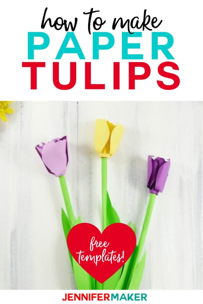This paper tulip is easy to assemble with a free cut file and a step by step tutorial.  #cricut #cricutmade #cricutmaker #cricutexplore #svg #svgfile