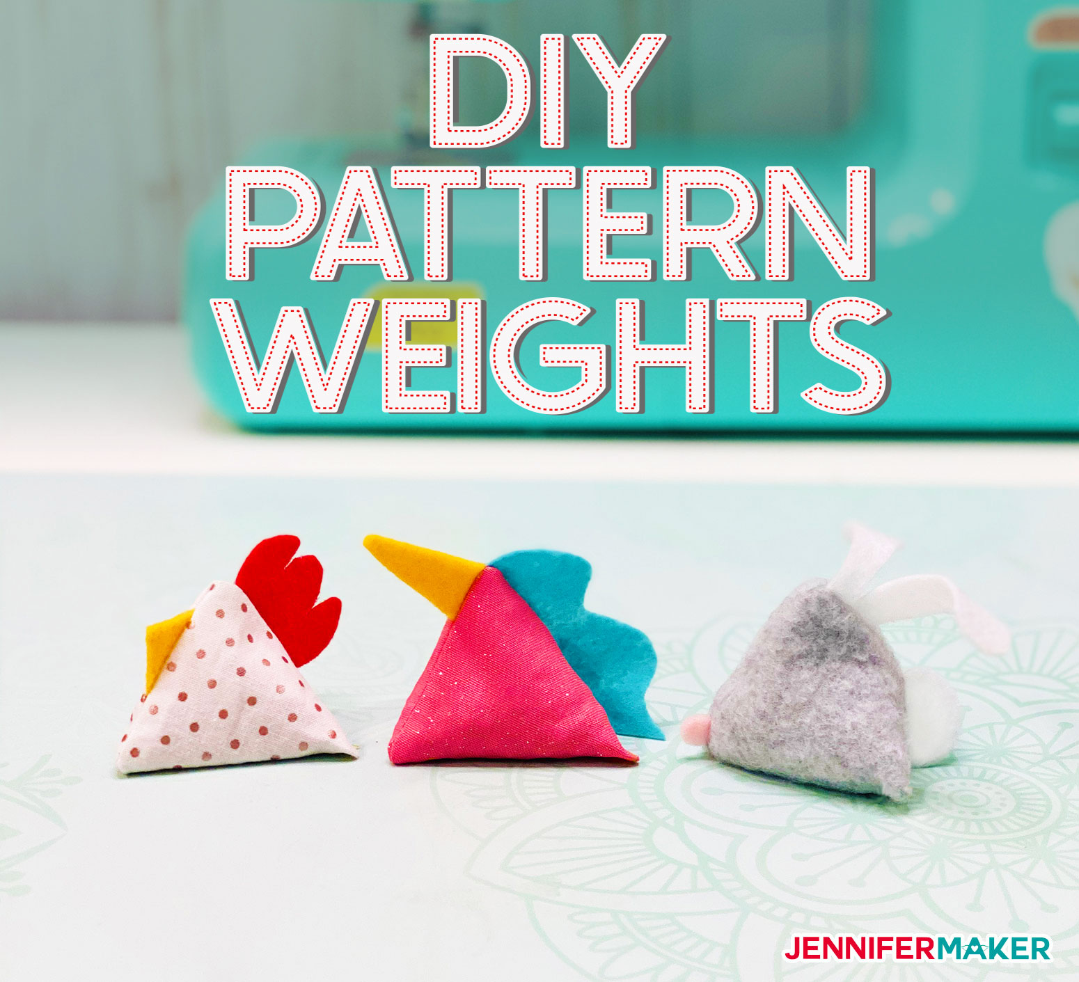 DIY Pattern Weights in Chicken, Unicorn, and Bunny Shapes -- Easy to Make, Free Pattern and SVG Cut File #sewing #cricut #fabric