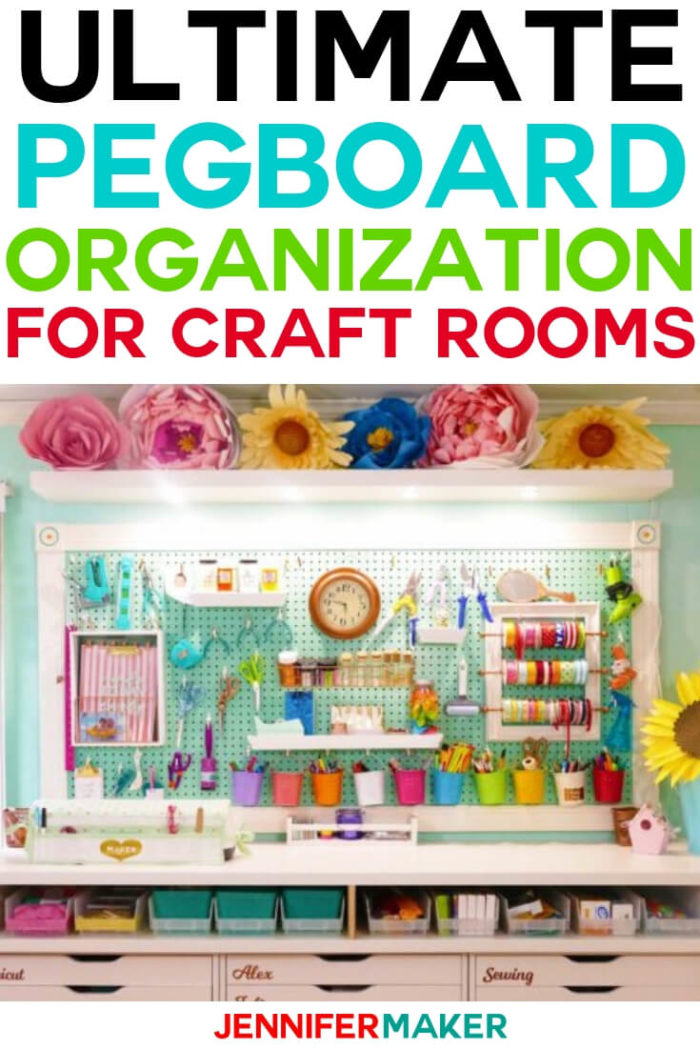 Pegboard Organization is the key to keeping your craft room in order with supplies easy accessible. Click here to learn how to utilize a pegboard in your cart room!  #diy #tutorial #craftprojects #craftroom