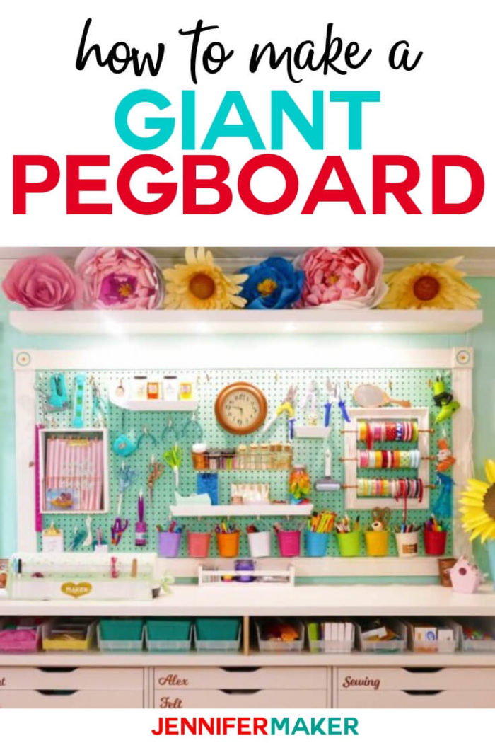 Create the ultimate pegboard organization with this step by step tutorial to create your own giant pegboard to organize your craft space. #diy #tutorial #craftprojects #craftroom