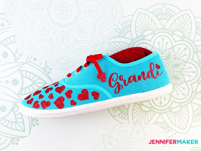 Personalize your shoes with pretty red hearts on an aqua canvas shoes... and add a name in iron-on vinyl!