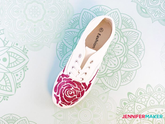 Personalize your shoes with rose pink glitter iron-on vinyl on white canvas shoes.