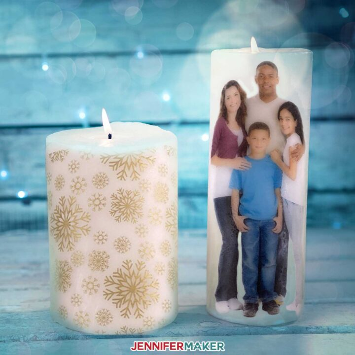 Custom candle wraps made from tissue paper and photographs