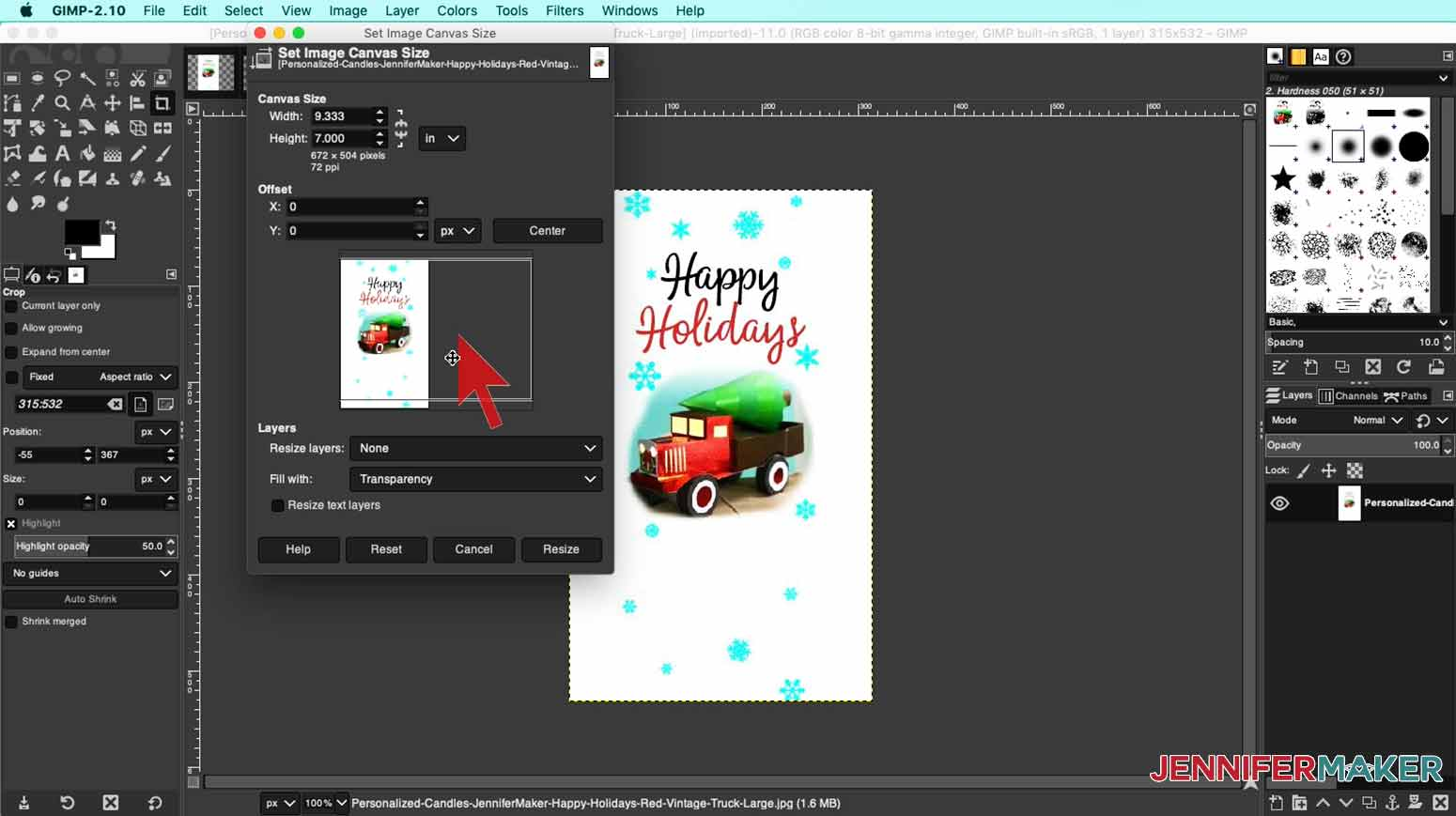 Change the measurement size of your image in GIMP for my personalized candles