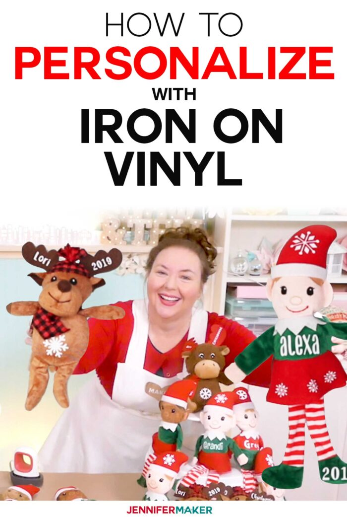 How to Personalize Elves and Stuffed Animals with Iron On Vinyl with a Cricut EasyPress Mini #cricut #christmas #dollartree