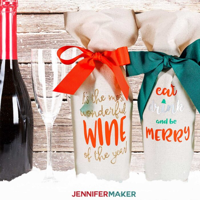 Personalized wine gift bags with iron-on vinyl make great gifts for the holidays