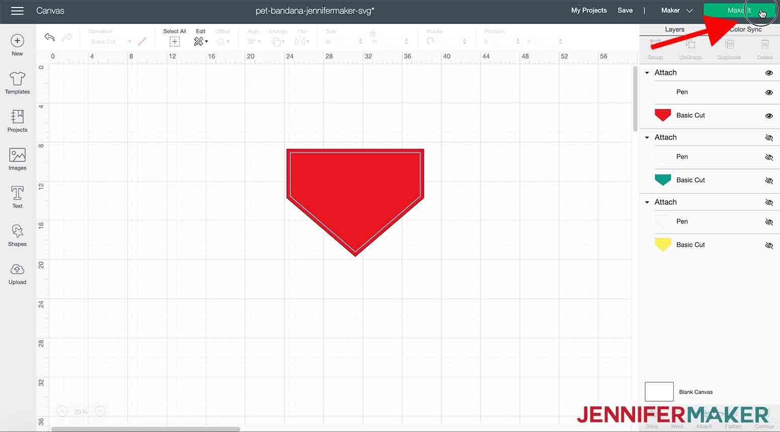 arrow pointing to make it button in cricut design space pet bandana jennifermaker