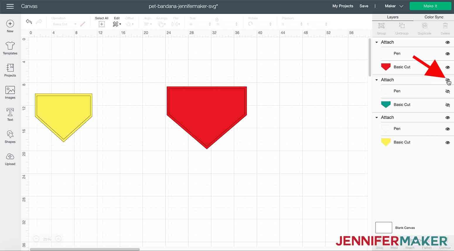 arrow pointing to eye icon in cricut design space to hide pet bandana jennifermaker