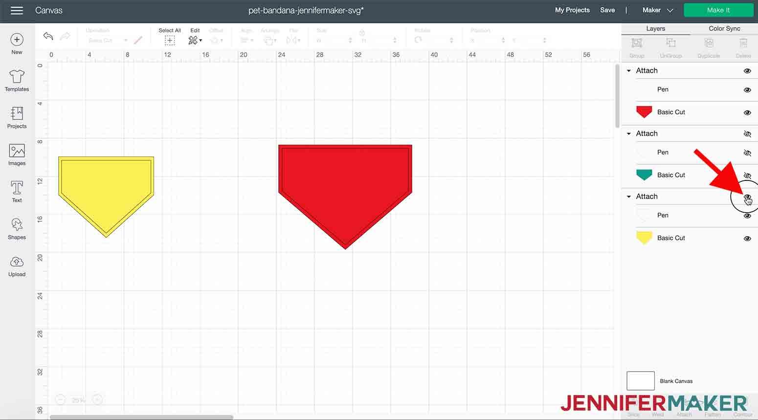 arrow pointing to eye icon to hide pet bandana jennifermaker