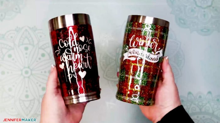 Beautiful buffalo plaid and Christmas plaid glitter tumblers