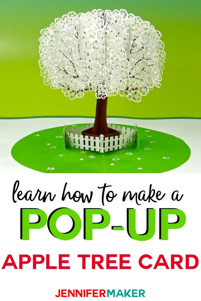 Learn how to make a pop-up apple tree card using 3D Sliceform with this step by step tutorial and free SVG cut file from Jennifer Maker.  #cricut #cricutmade #cricutmaker #cricutexplore #svg #svgfile