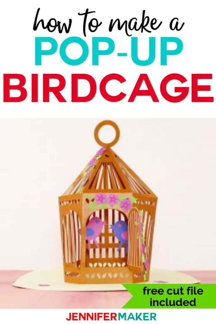 Learn how to make this pop-up birdcage and luminary with a step by step tutorial and free cut files. #cricut #cricutmade #svg #svgfile