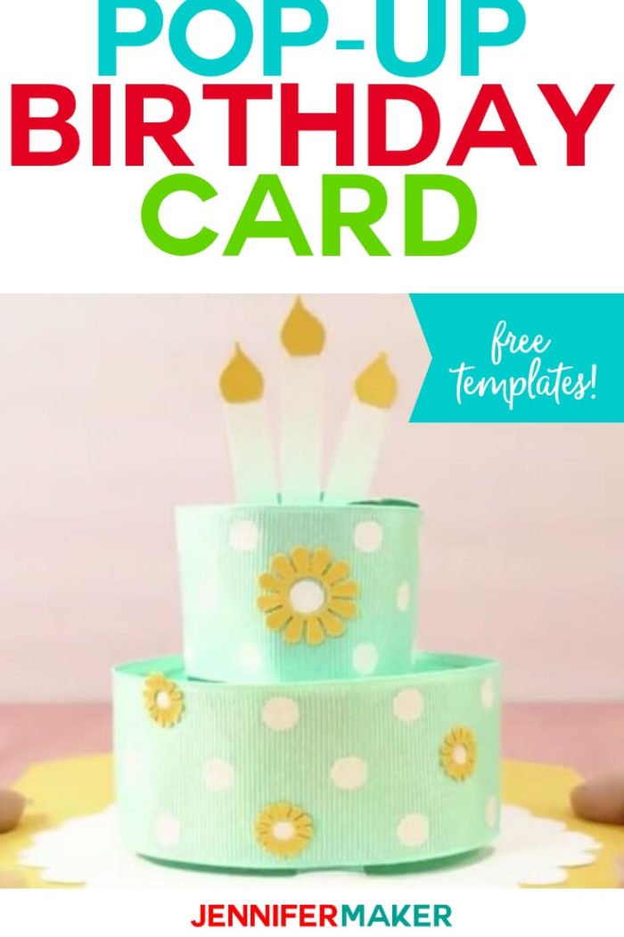 Create this pop-up birthday cake card with a free SVG cut file and tutorial. This is the perfect card for celebrating a loved one's birthday. #cricut #cricutmade #cricutmaker #cricutexplore #svg #svgfile