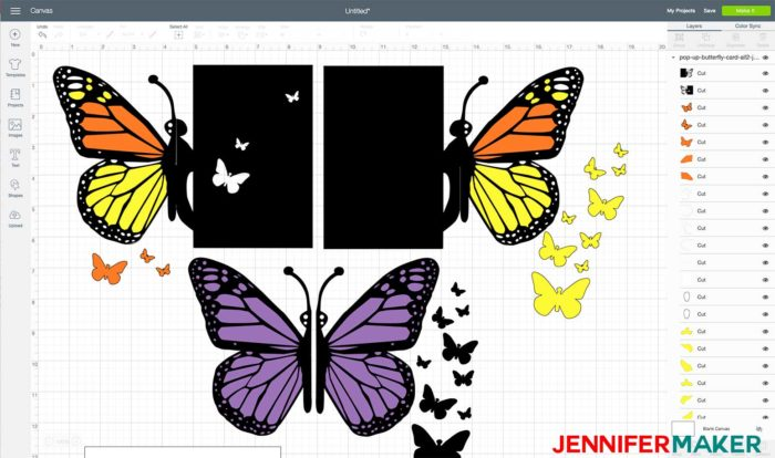 Pop-Up Butterfly Card Design uploaded to Cricut Design Space
