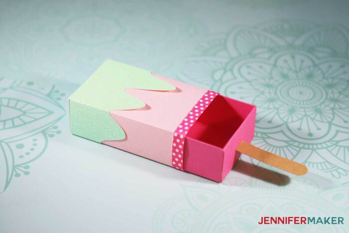 Cute Ice Cream Treat Box or Popsicle Gift Box Template is a great way to give a gift - Free SVG Cut File to Cut on a Cricut