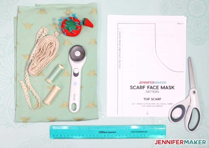 Materials used to make the pretty scarf face mask pattern