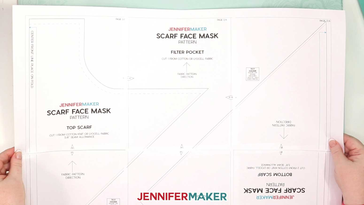 Pretty Scarf Face Mask Printable Pattern taped together