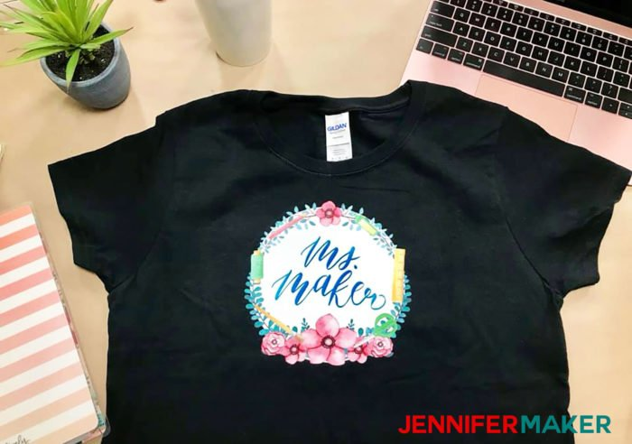 My black Print Then Cut Cricut Iron-on T-shirt with a cute crafty decal that says Ms. Maker