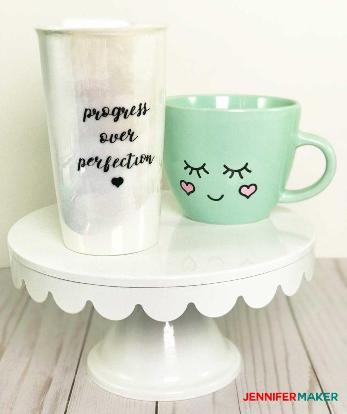 Cute face mugs make a fun Cricut mug idea
