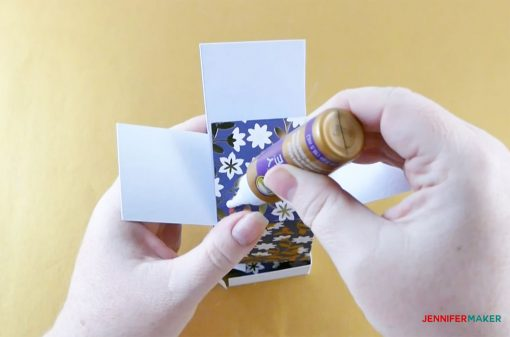 Glue the bottom flaps of your pull-up gift box