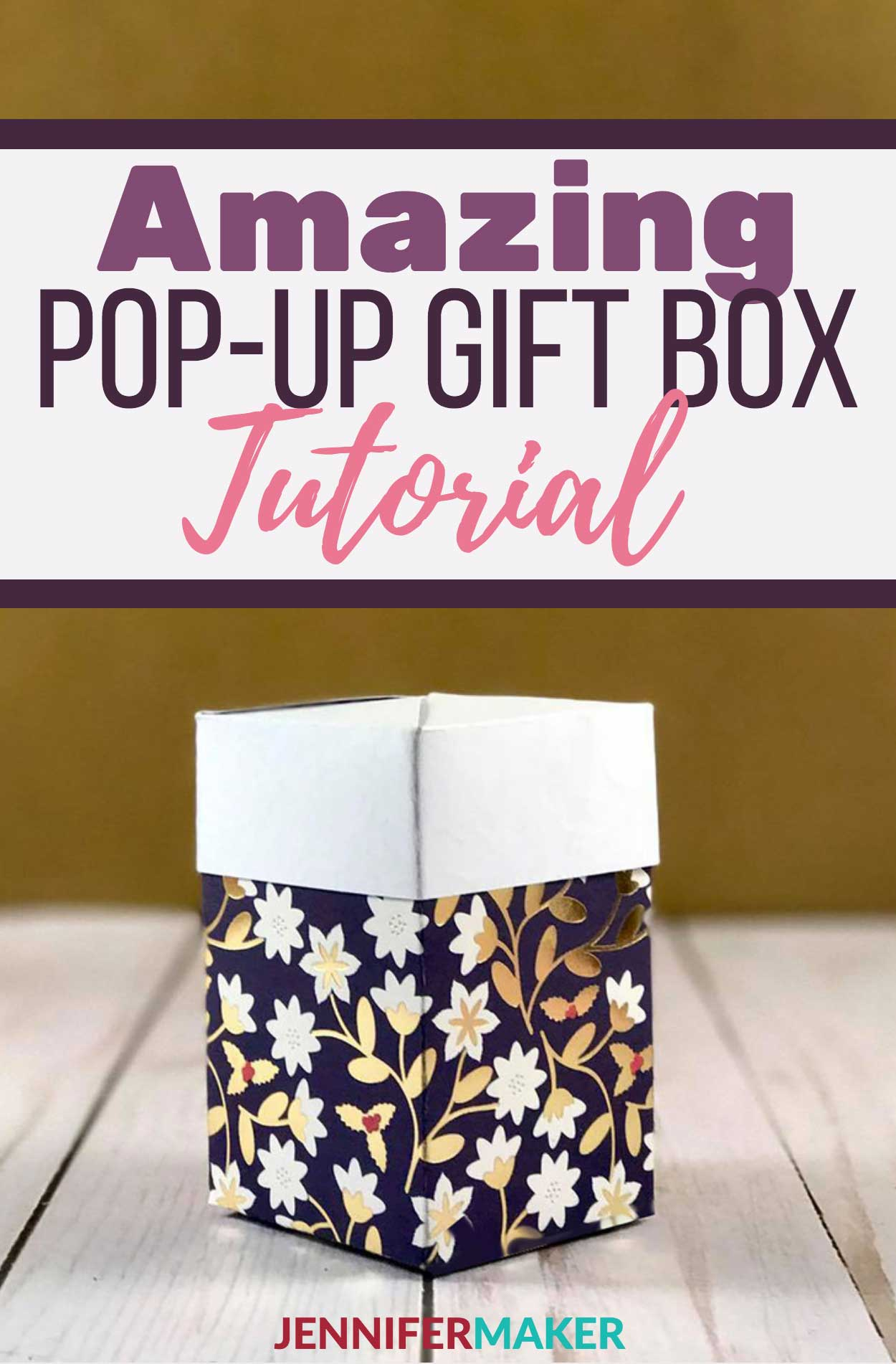 Make a Pull-Up Gift Box, also called an Impossible Box | Free Cricut and SIlhouette SVG Cut File | Papercraft Tutorial