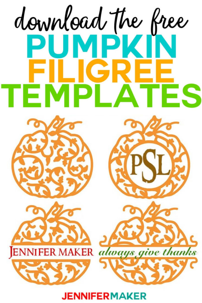 Download the free pumpkin filigree templates to add to your autumn craft projects. #cricut #cricutmade #cricutmaker #cricutexplore #svg #svgfile