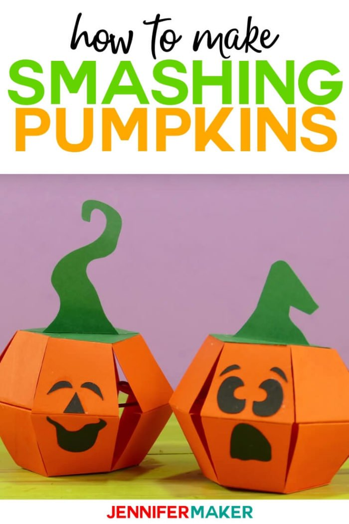 Learn how to make smashing pumpkins paper bombs with this step by step tutorial and free SVG cut file from Jennifer Maker. #cricut #cricutmade #cricutmaker #cricutexplore #svg #svgfile