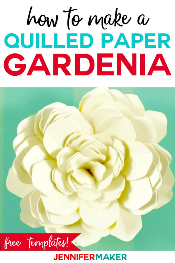 Make a quilled paper gardenia with this step by step tutorial and cut file.  #cricut #cricutmade #cricutmaker #cricutexplore #svg #svgfile