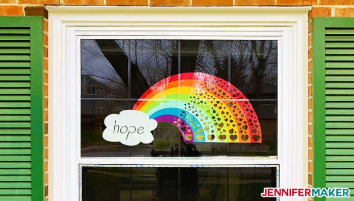Rainbow of Hearts Window to Show Hope and Support to Our Communities - Free Printable PDF and SVG Cut File for Cricut and Silhouette