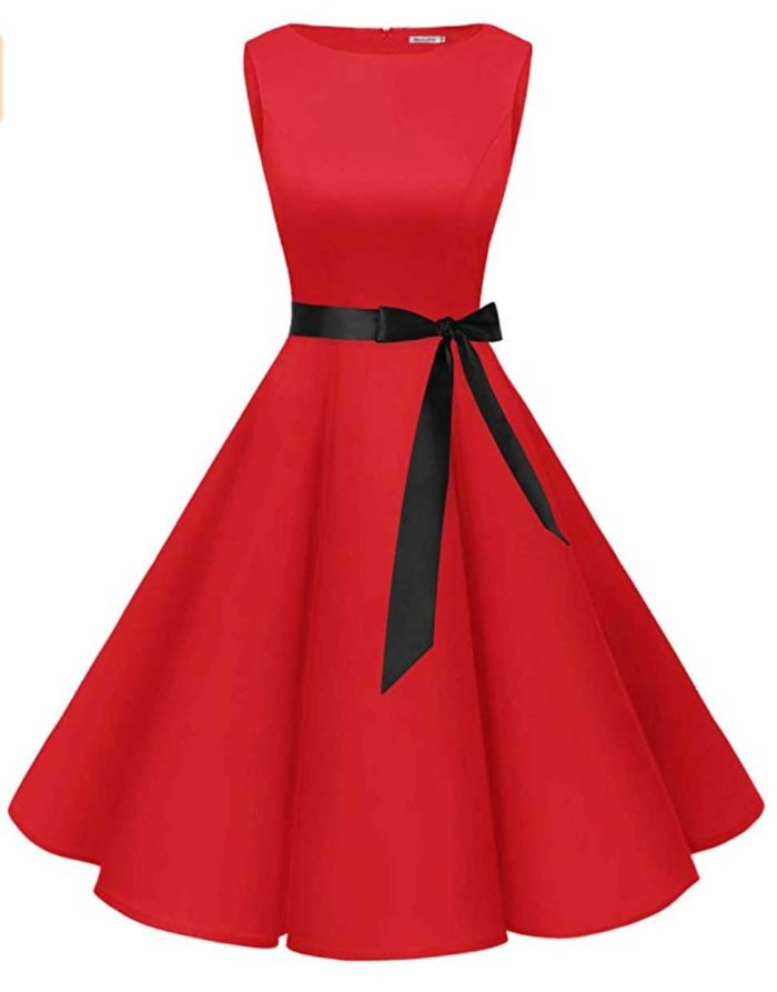 Red Fit and Flare Dress with Boatneck
