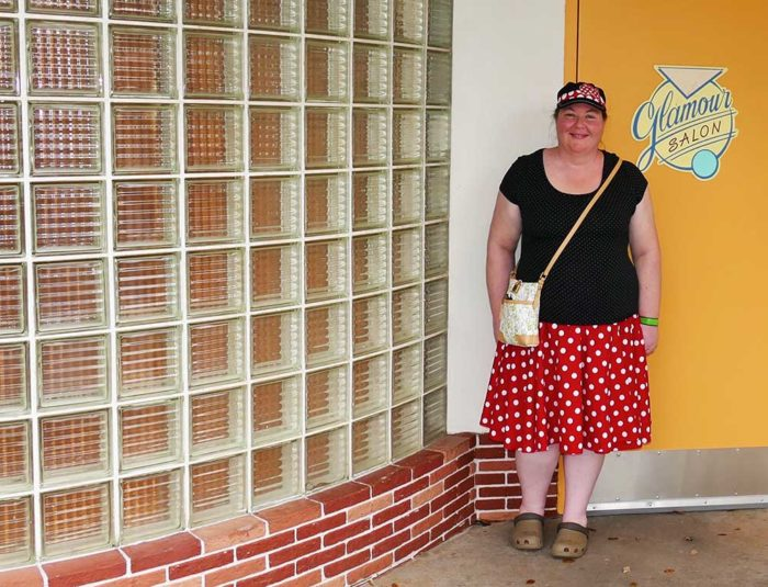 Red polka dot circle skirt and black top at Disney