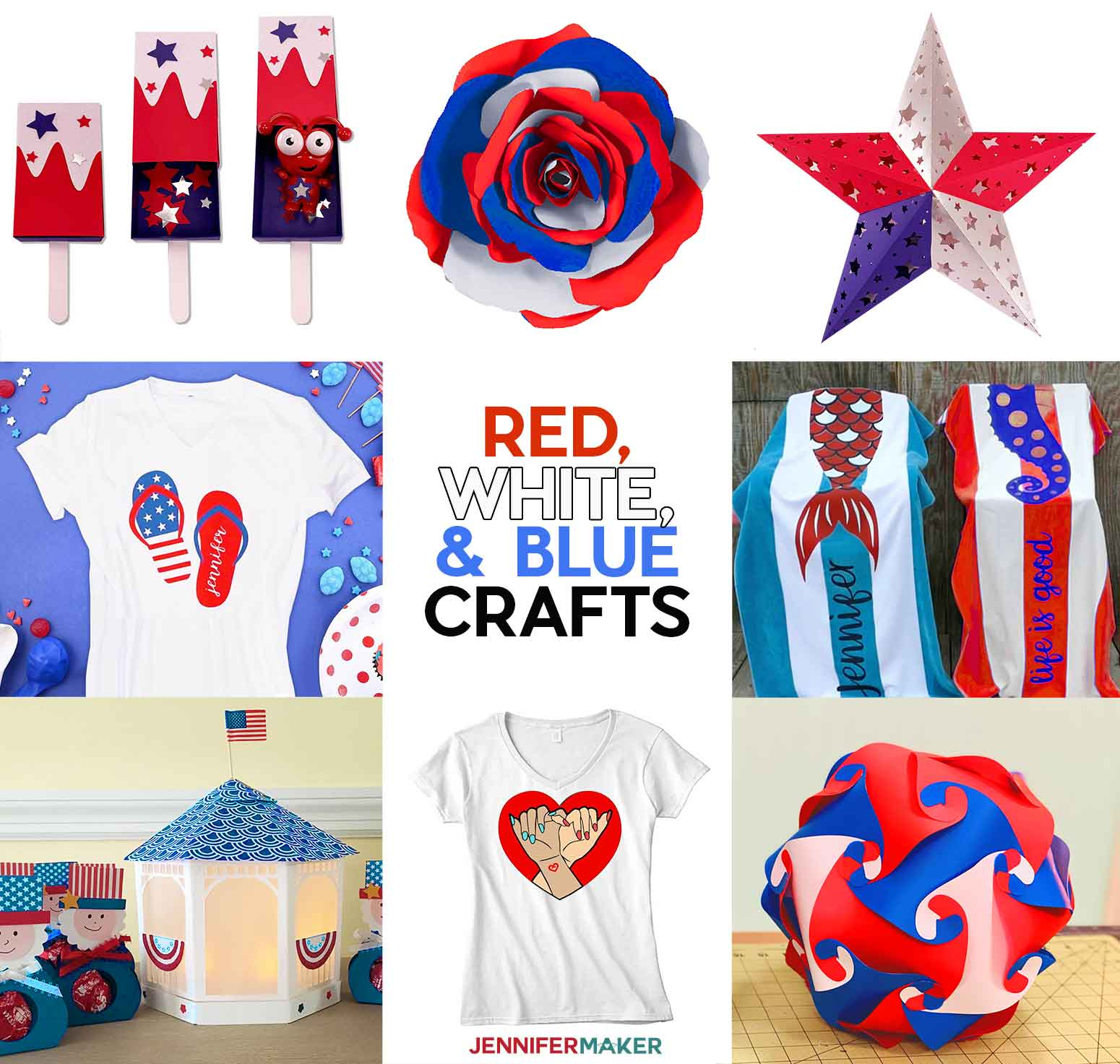 Red, white, and blue craft ideas you can make on the Cricut with free SVG cut files and printable patterns