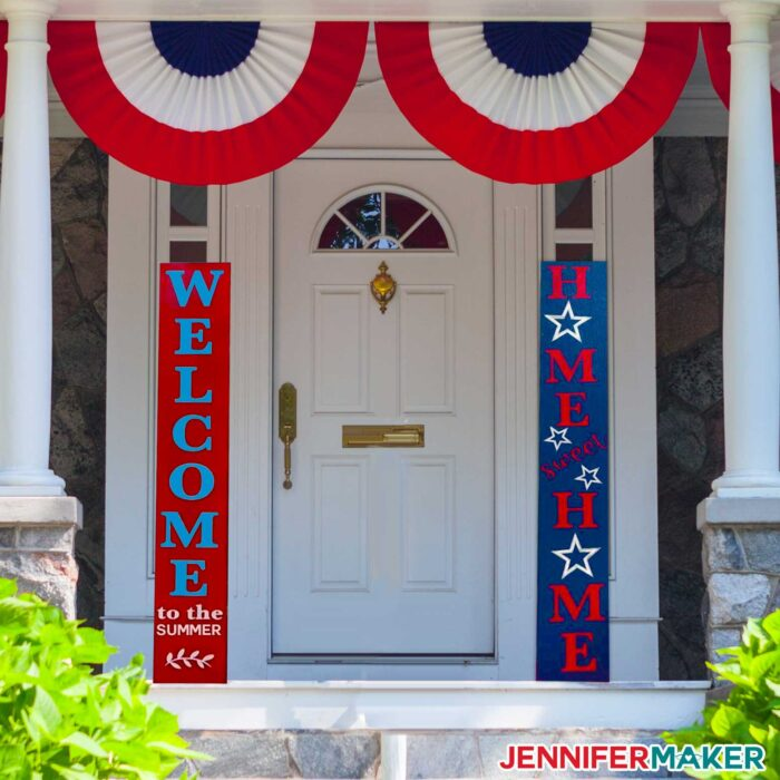 Red, white, and blue wood plank porch signs on a white door
