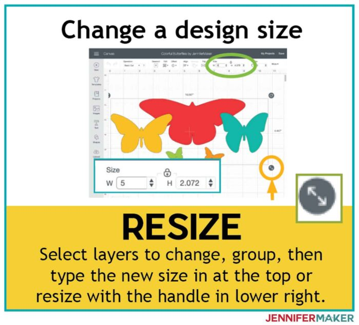 Use resize to change the height and width of an entire design in Cricut Design Space