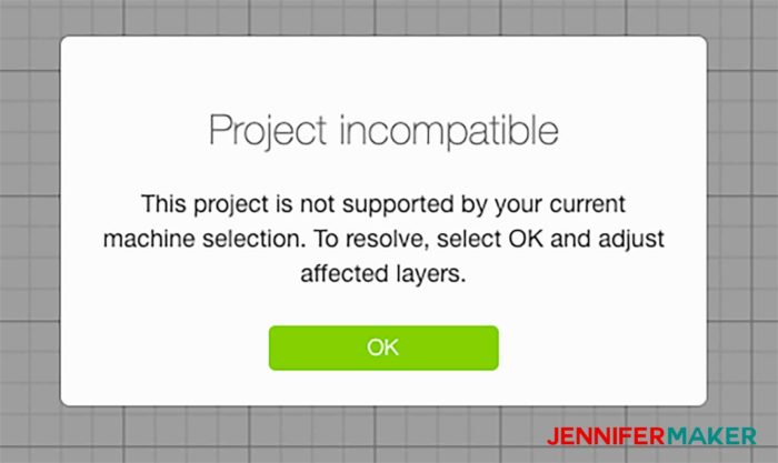 Project Incompatible message in Cricut Design Space