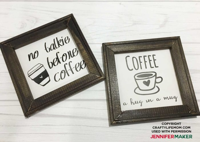 Two reverse canvas projects for a coffee bar